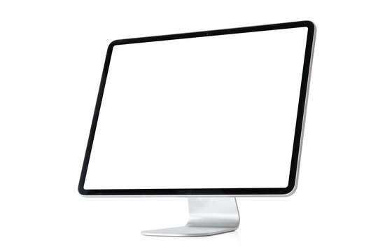 Mockup of modern desktop computer isolated on white background