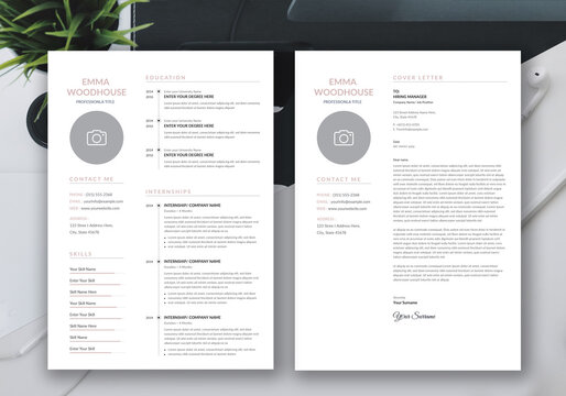 Minimalist Resume and Cover Letter Layout