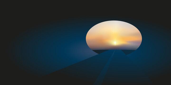 Concept de la sortie du tunnel et de l'espoir d'une libération ou d'une guérison avec un coucher de soleil à l'horizon.
