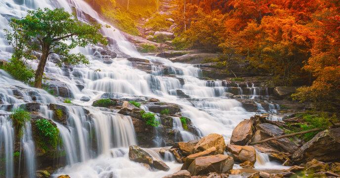 Colourful of Mae ya waterfall is a big beautiful waterfalls in Chiang mai Thailand