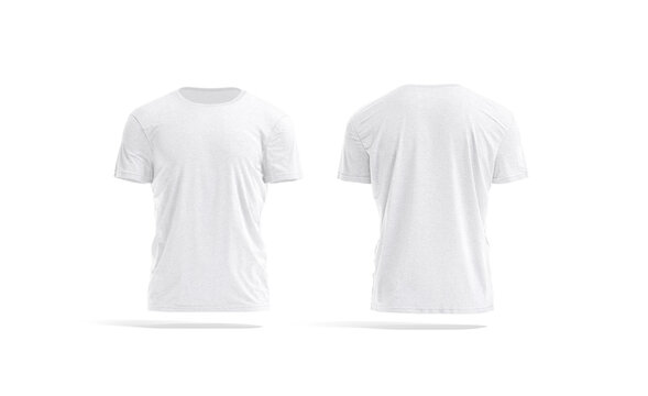 Blank white wrinkled t-shirt mockup, front and back view