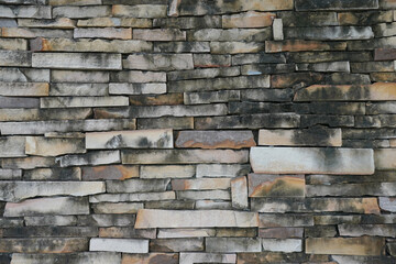 Rock stone natural color brick wall texture for background.