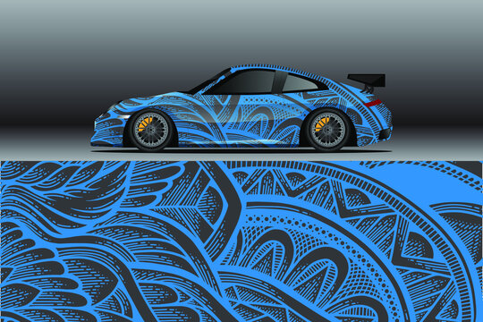 Car wrap decal designs. Abstract racing and sport background for racing livery or daily use car vinyl sticker