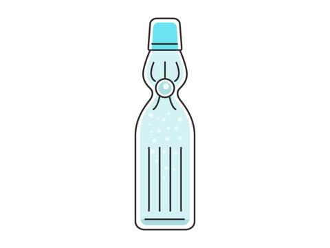 瓶に入ったラムネソーダのイラスト