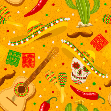 Cinco de Mayo seamless pattern with traditional mexican sombrero, perforated paper flags, maracas and other. Hand drawn festive pattern on yellow background. Vector illustration.