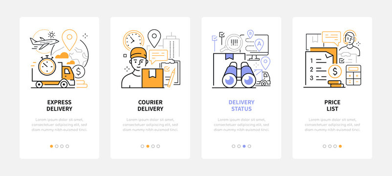 Logistics and delivery - modern line design style web banners