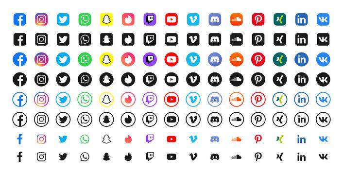 Vector social media logo icon set