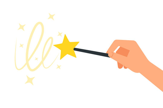 Hand holding wand image . Clipart image