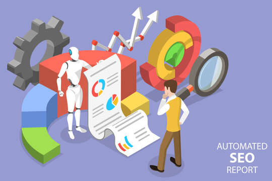 3D Isometric Flat Vector Conceptual Illustration of Automated Seo Report.