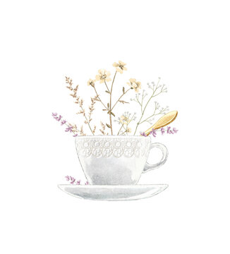 Watercolor vintage tea cup on saucer with flowers and golden spoon isolated on white background. Hand drawn illustration sketch