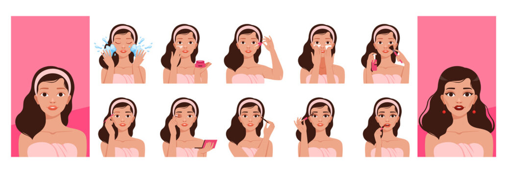 Girl skin cleaning. Makeup everyday routine processes pretty woman washing skin beauty face nowaday vector illustrations set isolated