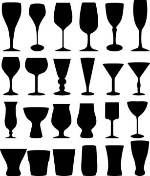 Glasses silhouettes collection - vector