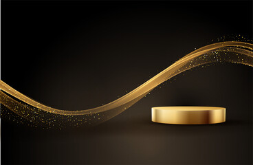 Obraz Minimal black scene with golden lines. Cylindrical gold and black podium on a black background. 3D stage for displaying a cosmetic product - fototapety do salonu