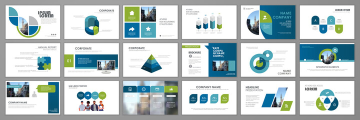 Fototapeta Business presentation infographic template set. Keynote presentation background, slide templates, website ideas, brochure cover design, landing page, annual report brochure. Vector Illustration