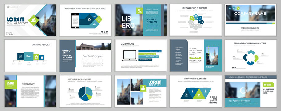 Presentation slide layout background. Blue and green design brochure template. Use in presentation, flyer, leaflet, banner, corporate report, annual report, marketing, advertising.