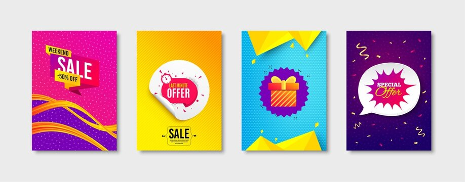 Weekend sale, Last minute and Gift box promo label set. Sticker template layout. Special offer sign. Offer sticker, Sale discount, Banner shape. Promotional tag set. Speech bubble banner. Vector