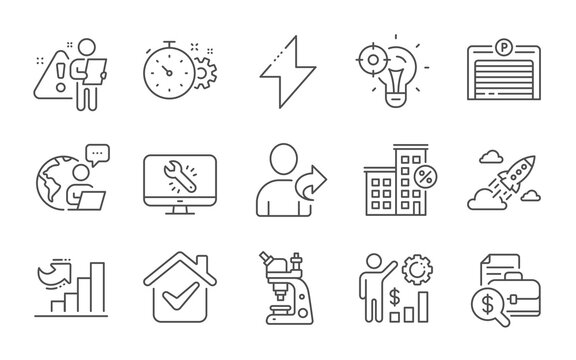 Energy, Monitor repair and Parking garage line icons set. Cogwheel timer, Microscope and Employees wealth signs. Growth chart, Loan house and Refer friend symbols. Line icons set. Vector