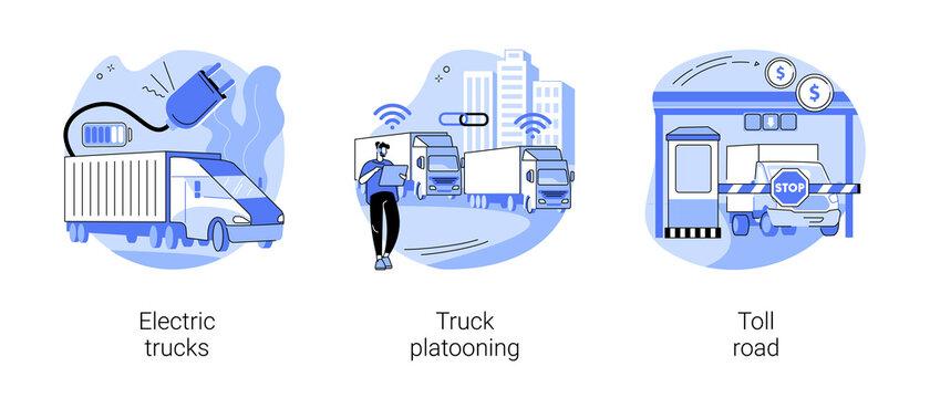 Modern transportation abstract concept vector illustrations.