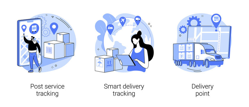 Parcel shipment abstract concept vector illustrations.