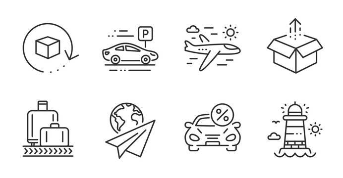 Baggage reclaim, Car leasing and Paper plane line icons set. Return package, Car parking and Airplane travel signs. Send box, Lighthouse symbols. Quality line icons. Baggage reclaim badge. Vector