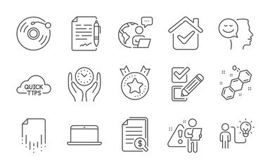 Fototapeta Good mood, Business idea and Chemical formula line icons set. Laptop, Vinyl record and Recovery file signs. Ranking star, Agreement document and Quick tips symbols. Line icons set. Vector