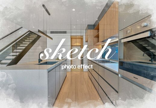 Architecture Watercolor Photo Effect Mockup