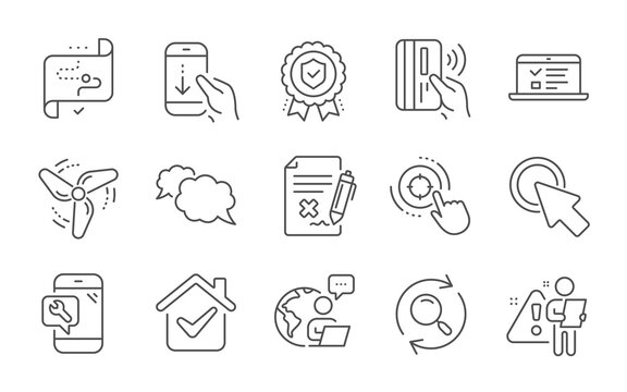 Target path, Insurance medal and Wind energy line icons set. Scroll down, Click here and Web lectures signs. Messenger, Contactless payment and Seo target symbols. Line icons set. Vector