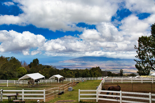 View from upcountry horse ranch in Kula of the west coastline of Maui.