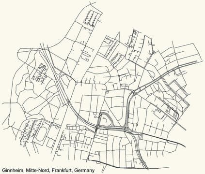 Black simple detailed street roads map on vintage beige background of the neighbourhood Ginnheim city district of the Mitte-Nord urban district (ortsbezirk) of Frankfurt am Main, Germany