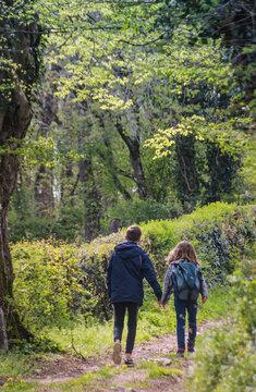 Une petite soeur et son grand frère se tiennent par la main lors d'une ballade sur un chemin en forêt. Des liens familiaux très forts les unissent.