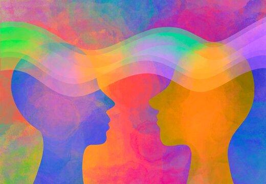 Illustrazione empatia, telepatia,  sostegno morale