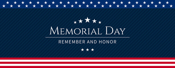 Fototapeta Vector of US Memorial Day celebration background banner or greeting card, with text and USA flag elements. obraz