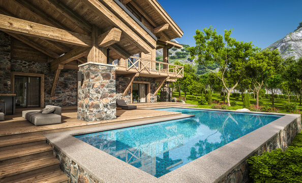 3d rendering of modern cozy chalet with pool and parking for sale or rent. Beautiful forest mountains on background. Massive timber beams columns. Clear sunny summer day with cloudless sky.