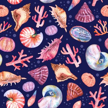 Watercolor seashells, coral and sea urchin pattern on dark blue. Colorfull pattern for design textile, wallpapers, prints and banners.