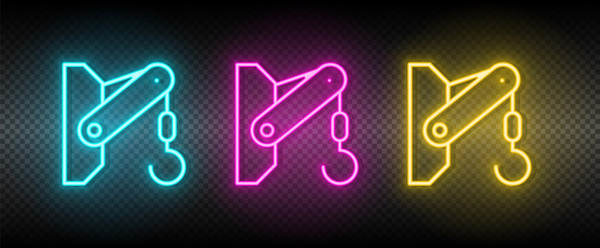 container lifter, crane hook neon icon set