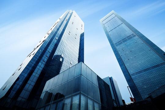 Glass high rise buildings in Fuzhou