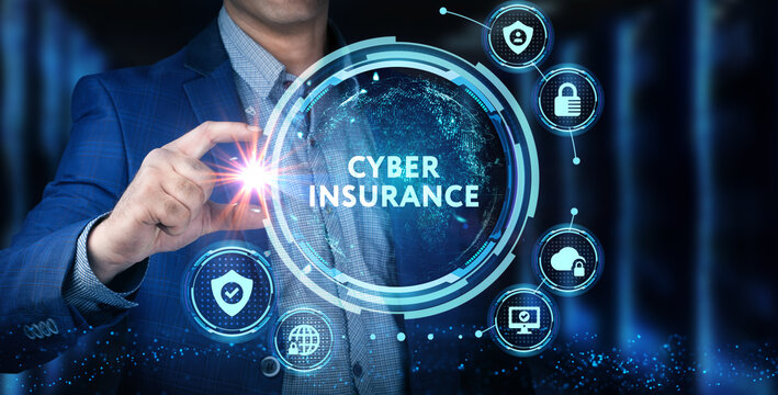 Cyber security data protection business technology privacy concept. Young businessman  select the icon Cyber insurance on the virtual display.