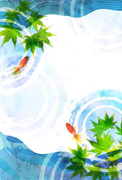金魚 暑中見舞い 和柄 背景