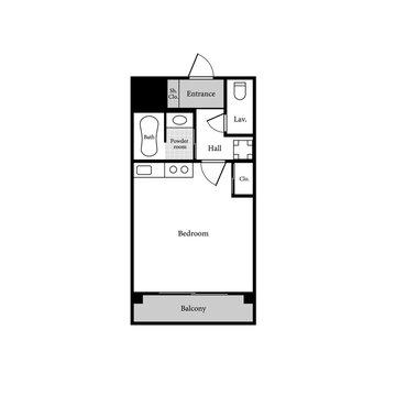 Apartment sample layout. One room studio apartment. 1 Bedroom, 1 bathroom.