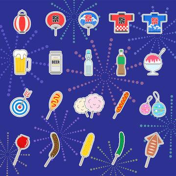 日本の夏祭りのイラストレーションセット