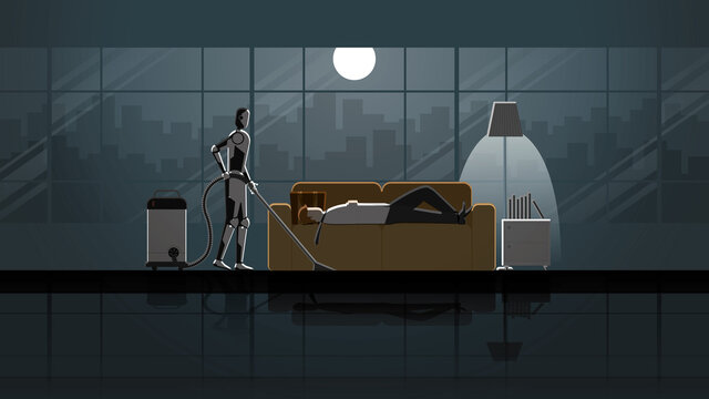 Robot Artificial intelligence mechanism clean and work as maid in the house for 24 hours in the dark and full moonlight with people. Man lay down and sleep on sofa in living room after work.