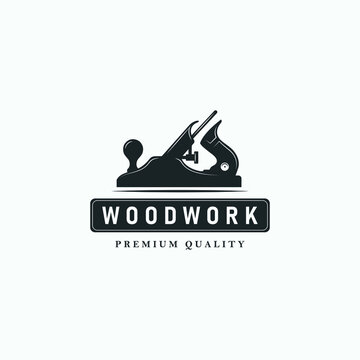 Carpentry, woodworking retro vintage logo design. Jack plane or wood plane logo