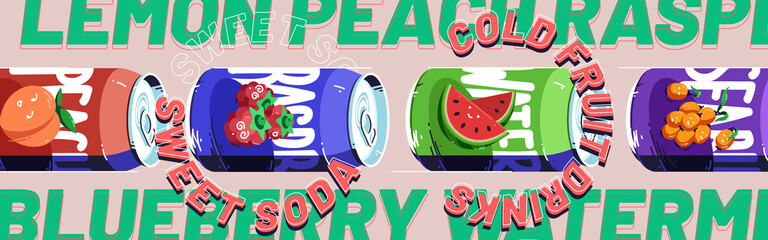 Sweet soda, cold fruit drinks banner. Fizzy raspberry, watermelon, sea buckthorn and peach beverage in aluminium cans. Vector poster with cartoon illustration of metal tin cans with lemonade
