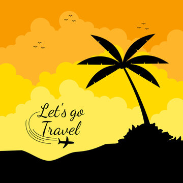 Travel destination vector background and template design with travel destinations Island and beach at sunset. Let's go travel vector illustration.