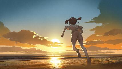 girl running barefoot to the beach at sunrise, digital art style, illustration painting