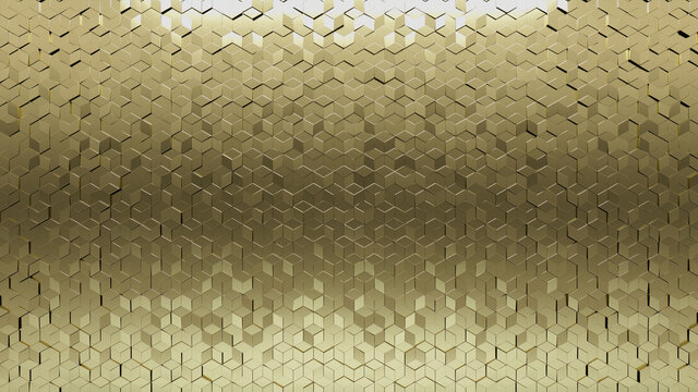 Glossy Tiles arranged to create a Diamond shaped wall. Gold, Luxurious Background formed from 3D blocks. 3D Render