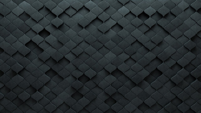 Arabesque Tiles arranged to create a Futuristic wall. Concrete, Semigloss Background formed from 3D blocks. 3D Render