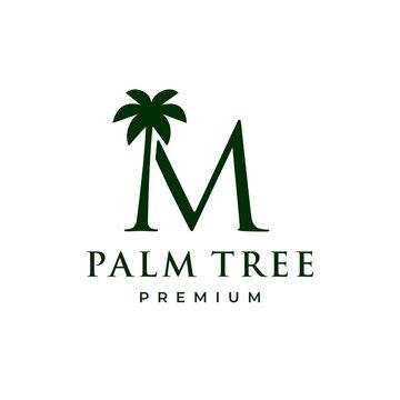 palm tree m letter mark logo vector icon illustration