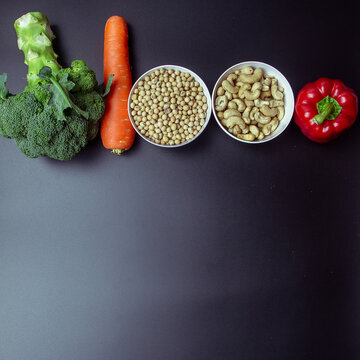 Healthy food concept,broccoli, peppers, carrots, whole grains.