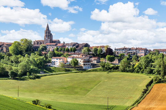 Village on a hill in Lauragais in Occitanie, France